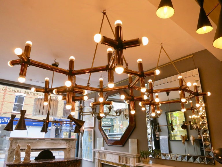 Pair of Large Brass French Tubular Geometrical Ceiling Lights For Sale 8