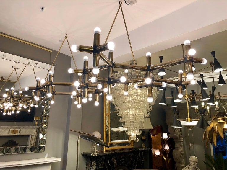 Modern Pair of Large Brass French Tubular Geometrical Ceiling Lights For Sale