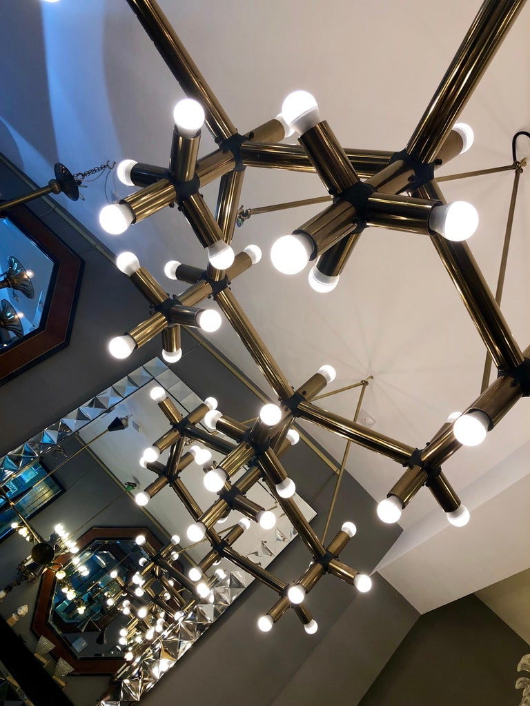 Pair of Large Brass French Tubular Geometrical Ceiling Lights In Good Condition For Sale In London, GB