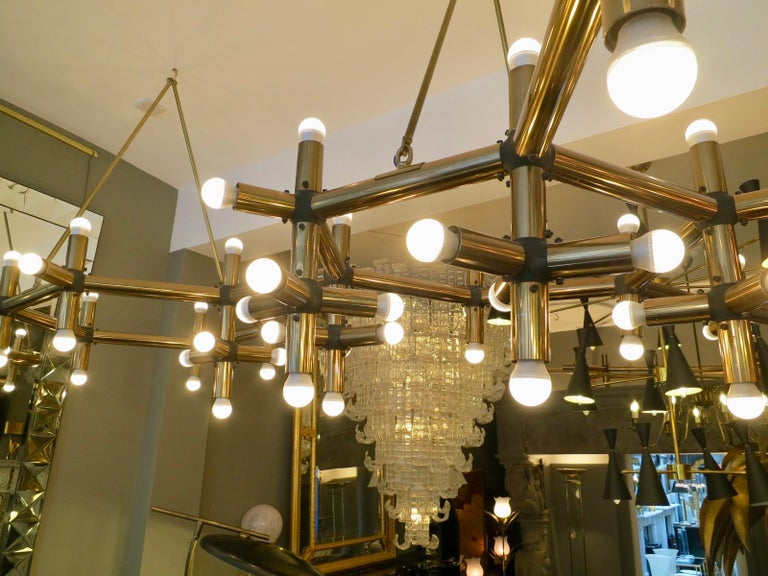 20th Century Pair of Large Brass French Tubular Geometrical Ceiling Lights For Sale