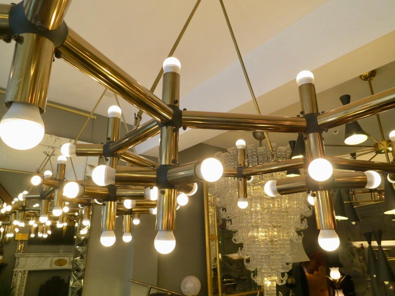 Pair of Large Brass French Tubular Geometrical Ceiling Lights For Sale 1
