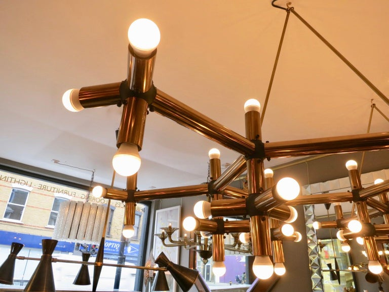 Pair of Large Brass French Tubular Geometrical Ceiling Lights For Sale 2