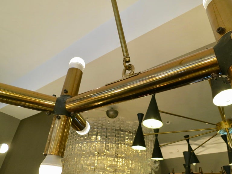 Pair of Large Brass French Tubular Geometrical Ceiling Lights For Sale 3