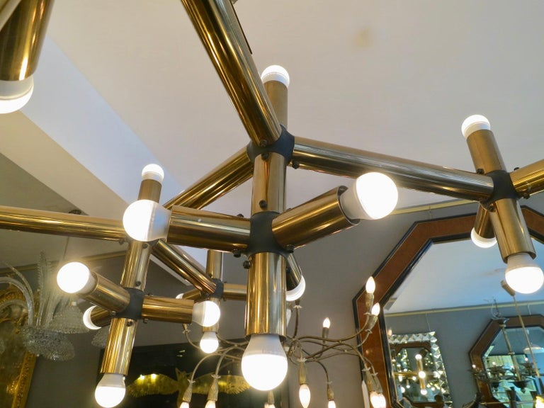 Pair of Large Brass French Tubular Geometrical Ceiling Lights For Sale 4