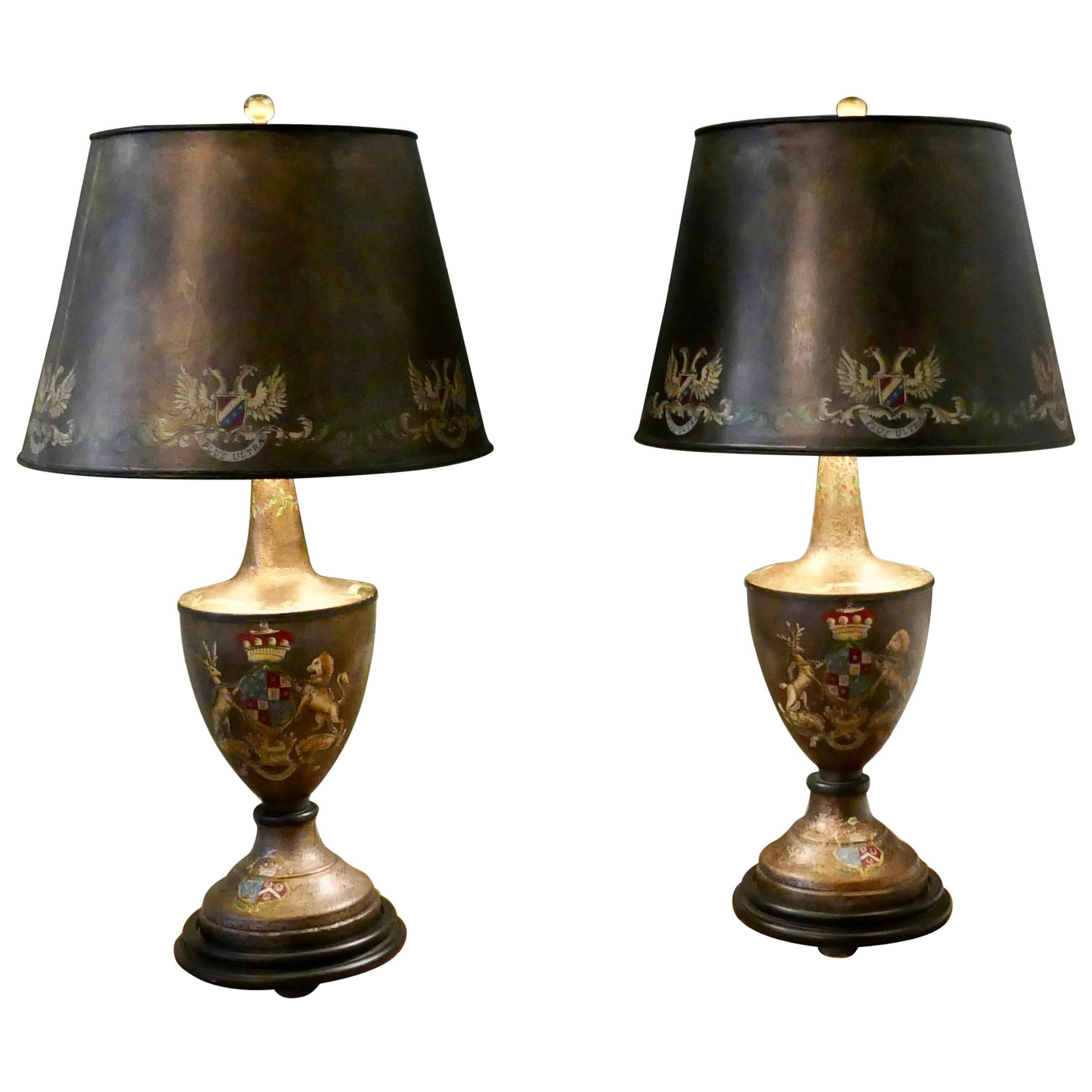 Pair of Large Bronze Colored Toleware Table Lamps