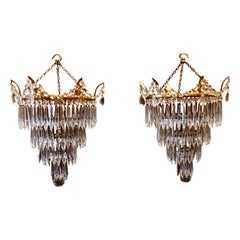 Pair of Large Crystal Waterfall Chandeliers