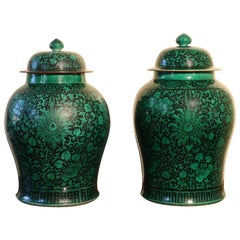 Pair of Large Famille Noire Baluster Vases and Covers, 18th-19th Century