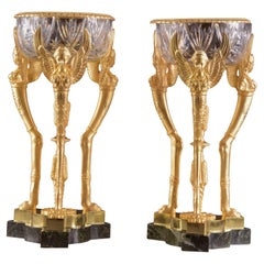 Pair of Large France Empire Style Gilt Bronze Coupes with Crystal, ca. 1850