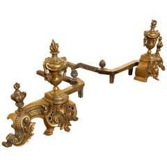 Pair of Large French Rococo Brass Andirons or Chenets