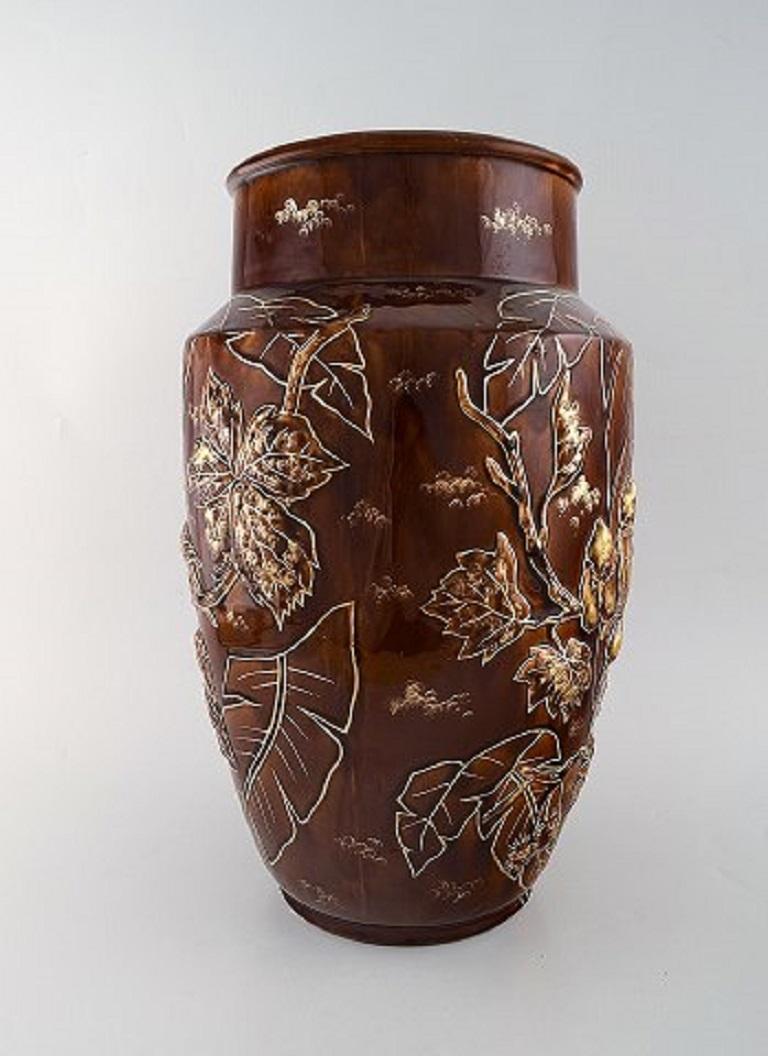 Art Deco Pair of Large Longchamp Majolica Vases in Reddish Brown Glaze, 1920s For Sale