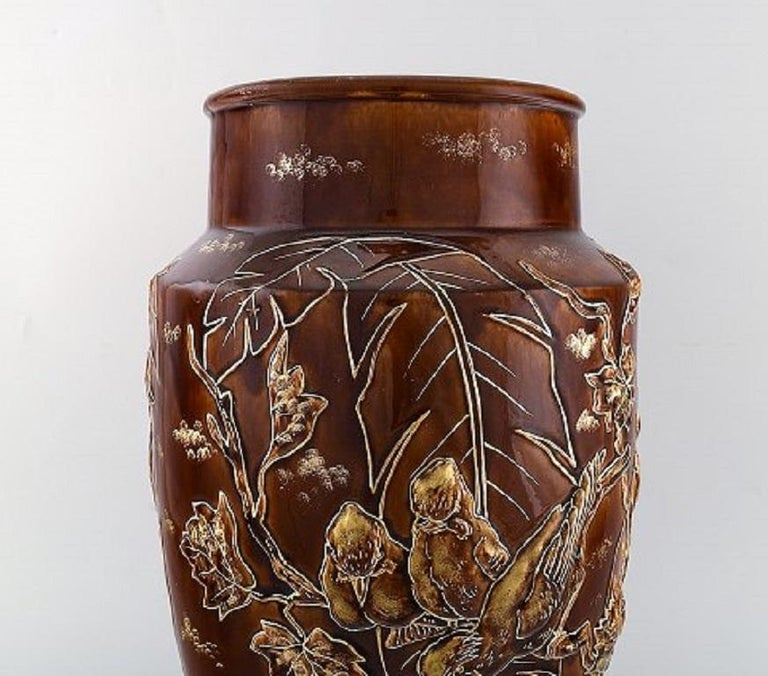 Pair of Large Longchamp Majolica Vases in Reddish Brown Glaze, 1920s In Good Condition For Sale In Copenhagen, Denmark