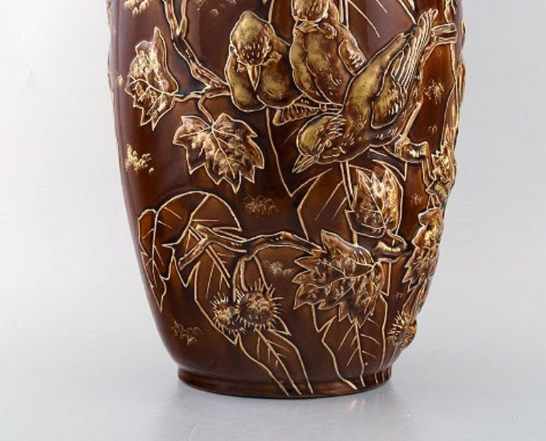 Early 20th Century Pair of Large Longchamp Majolica Vases in Reddish Brown Glaze, 1920s For Sale