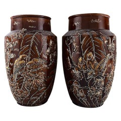 Pair of Large Longchamp Majolica Vases in Reddish Brown Glaze, 1920s
