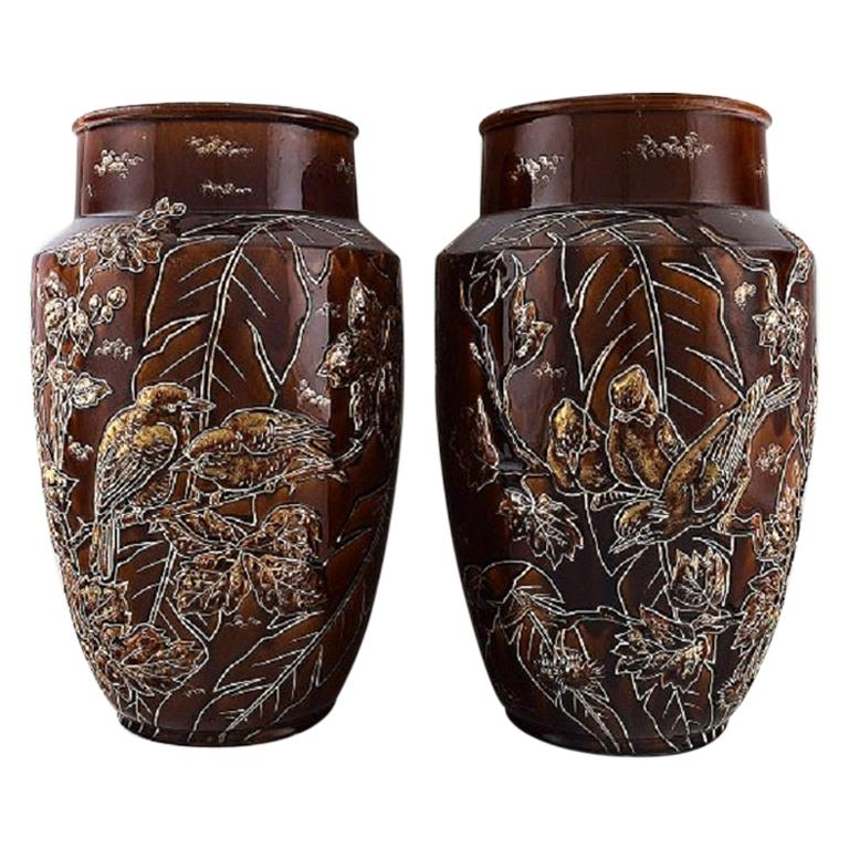 Pair of Large Longchamp Majolica Vases in Reddish Brown Glaze, 1920s For Sale