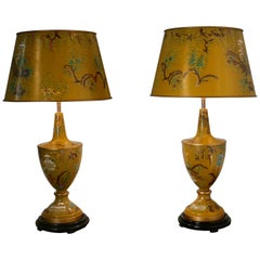 Pair of Large Mustard Yellow Chinoiserie Toleware Table Lamps