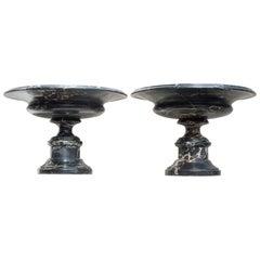 A Pair of Large Porto Nero Marble Tazzas