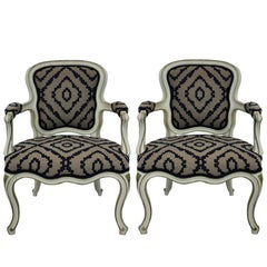 Pair of Large Scale French Painted Fauteuils