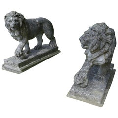 Pair of Large Stone Garden Entrance Guardian Lions