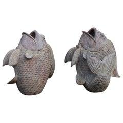 Pair of Large Terracotta Koi Fish Garden Sculptures