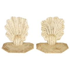 Pair of Large Wood Carved Shell Brackets