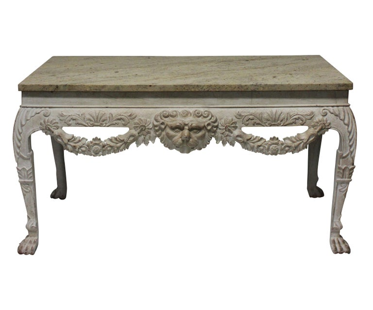 English Pair of Large XVIII Century Style Painted Marble Top Consoles