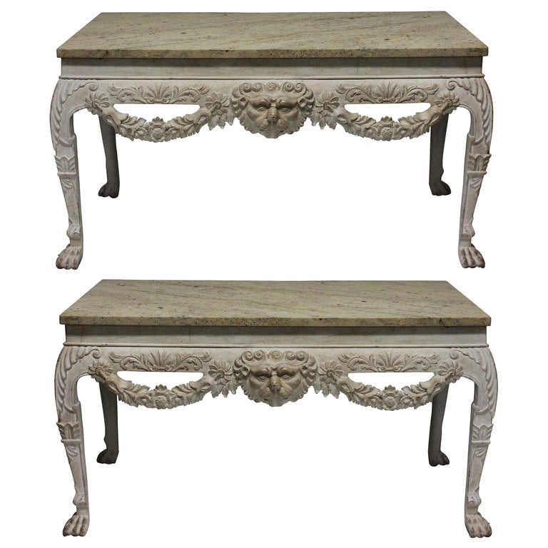 Pair of Large XVIII Century Style Painted Marble Top Consoles