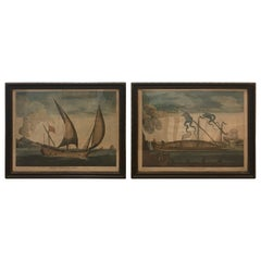 Pair of Late 17th Century Century Dutch Nautical Hand Colored Engraving Prints