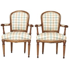 Pair of Late 18th Century Danish Louis XVI Giltwood Open Armchairs