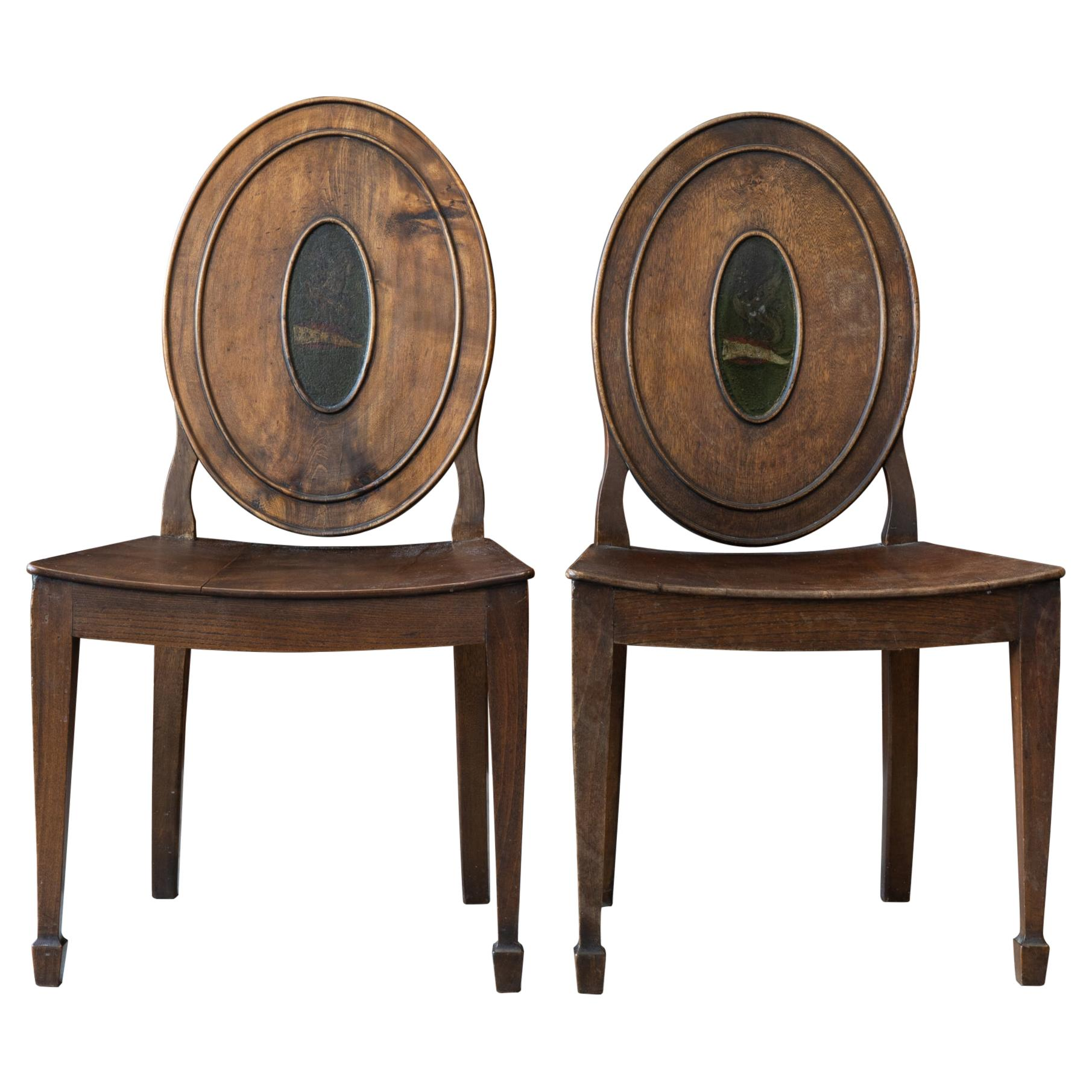 Pair of Late 18th Century Hall Chairs