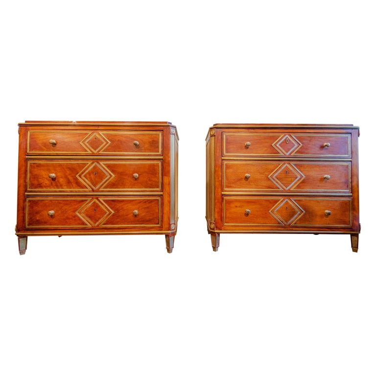 Pair of Russian Mahogany and Brass Commodes, 1890, offered by Tomlin Antiques