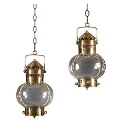 Pair of Late 19th Century Campaign Brass Hanging Lanterns
