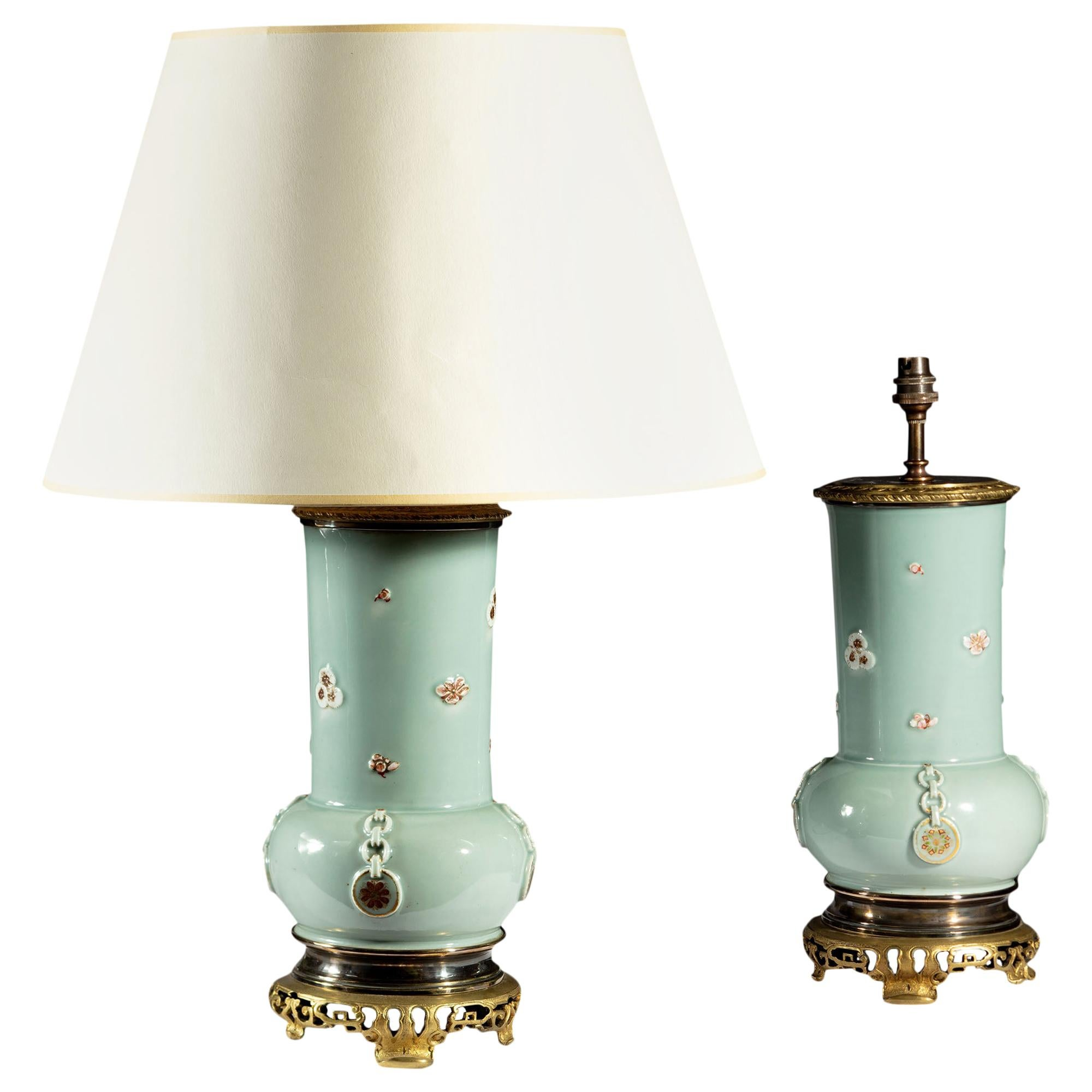 Pair of Late 19th Century Japanese Celadon Vases as Table Lamps with Mounts