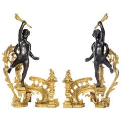 Pair of Late 19th Century Ormolu and Bronze Chenets