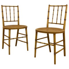 Pair of Late 19th Century Painted Faux Bamboo Side Chairs