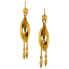 Pair of Late 19th Century Gold Drop Earrings