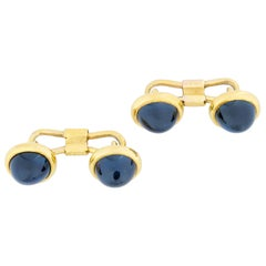 Pair of Late Victorian Sapphire and Yellow Gold Cufflinks