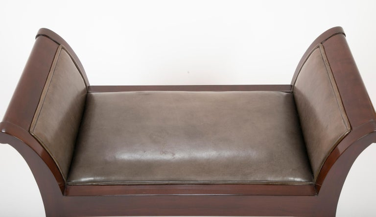 Pair of Leather Benches Designed by Jacques Grange for John Widdicomb For Sale 7