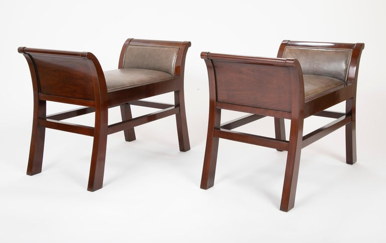 Leather and mahogany benches designed Jacques Grange for John Widdicomb.