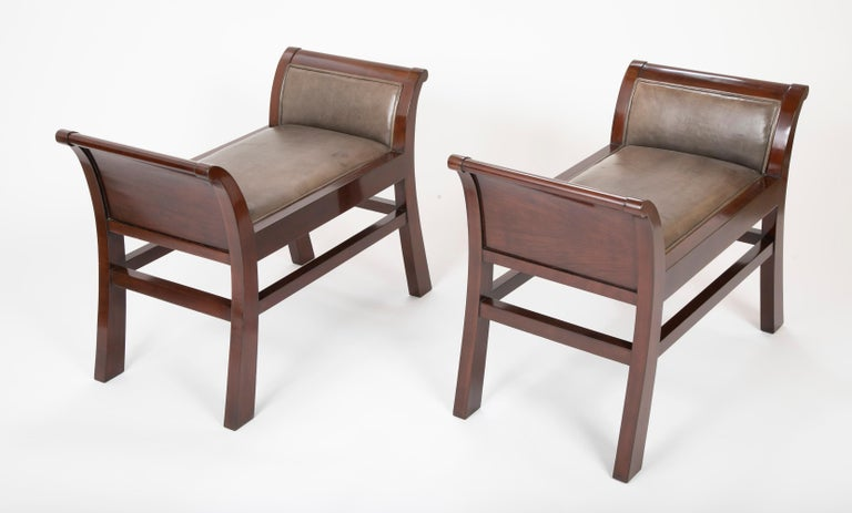 Modern Pair of Leather Benches Designed by Jacques Grange for John Widdicomb For Sale