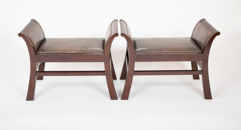 American Pair of Leather Benches Designed by Jacques Grange for John Widdicomb For Sale