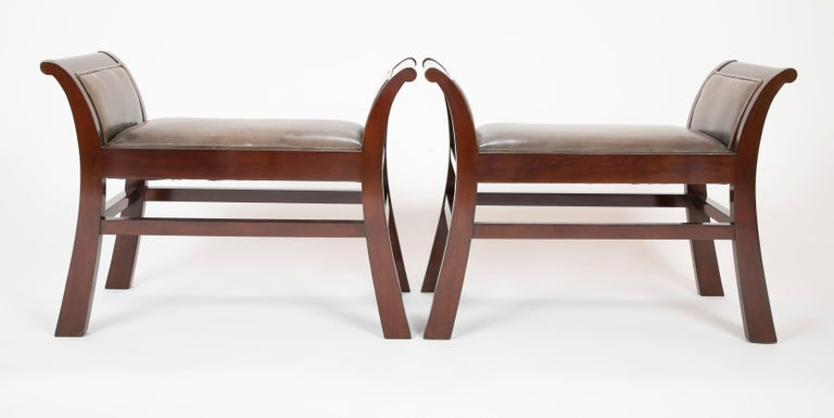 Pair of Leather Benches Designed by Jacques Grange for John Widdicomb In Good Condition For Sale In Stamford, CT