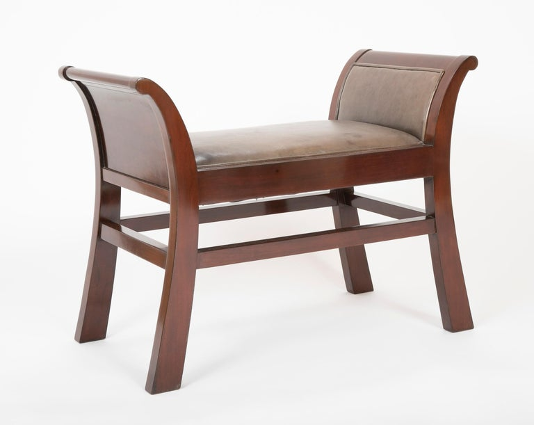Mahogany Pair of Leather Benches Designed by Jacques Grange for John Widdicomb For Sale