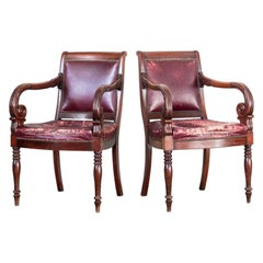 Pair of Library Chairs in the Manner of Mack, William, and Gibton