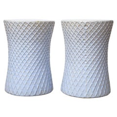 Pair of Light Blue Garden Stools