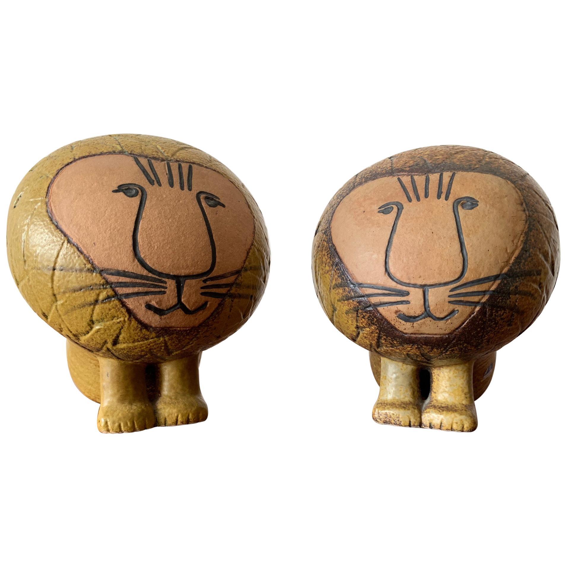 Pair of Lisa Larson Lion Sculptures Gustavsberg