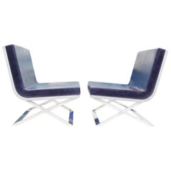 "Pair of Louis Kazan ""Kalup"" Lounge Chairs in Blue Leather and White Resin Back"