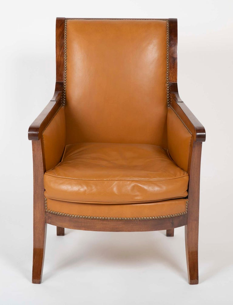 French Pair of Louis Philippe Cognac Leather Bergeres For Sale