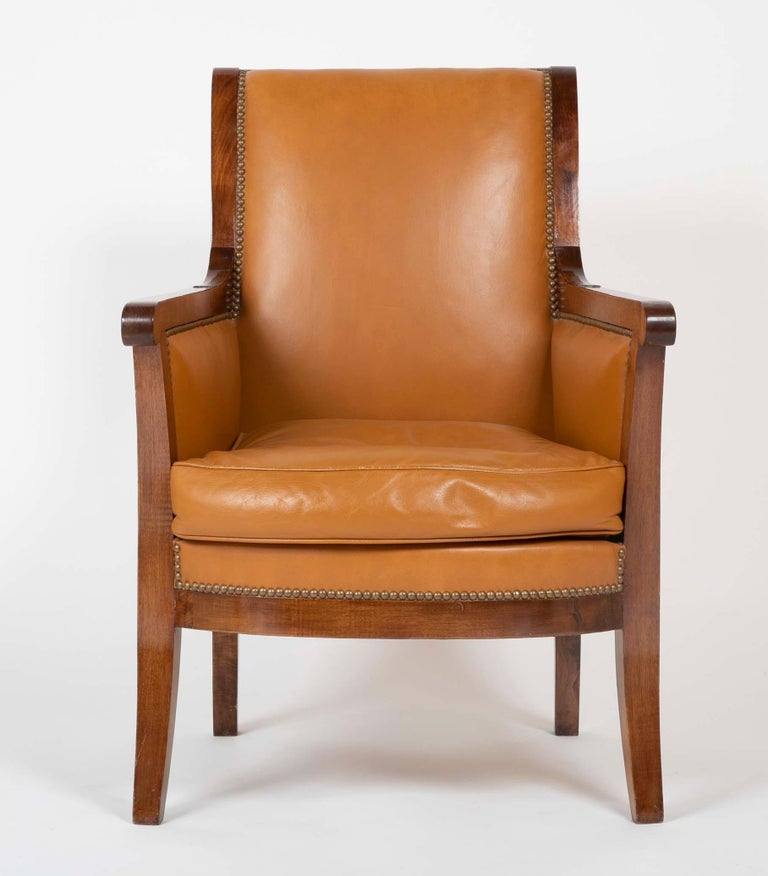 Pair of Louis Philippe Cognac Leather Bergeres In Good Condition For Sale In Stamford, CT