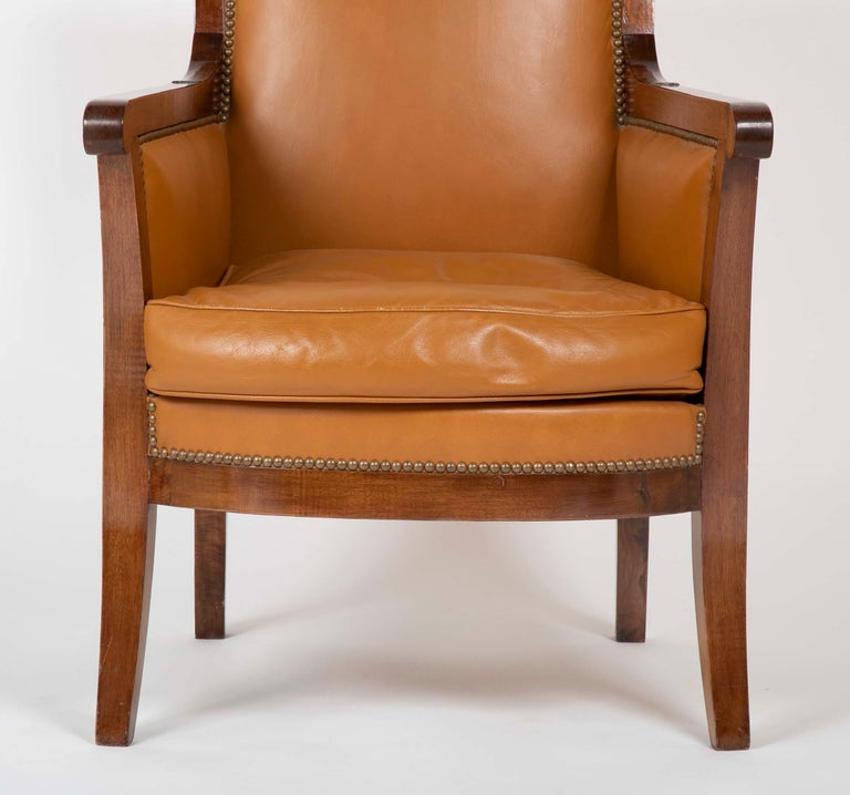 Mid-19th Century Pair of Louis Philippe Cognac Leather Bergeres For Sale