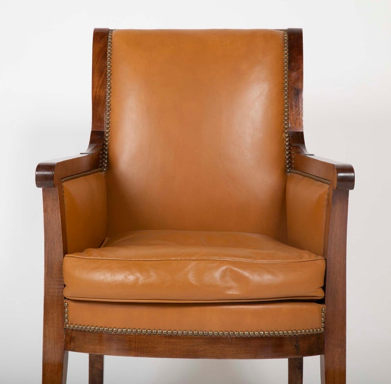 Pair of Louis Philippe Cognac Leather Bergeres For Sale 1